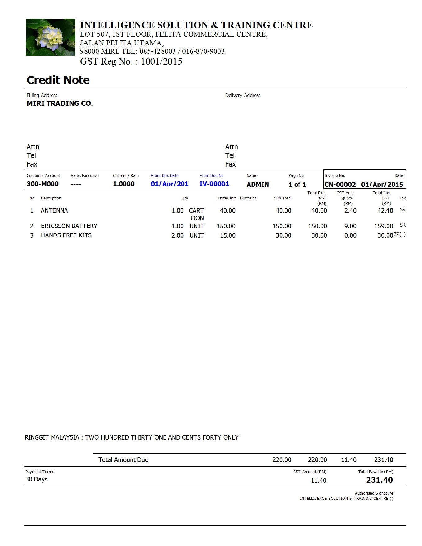 format for credit note – Debit Memo Template