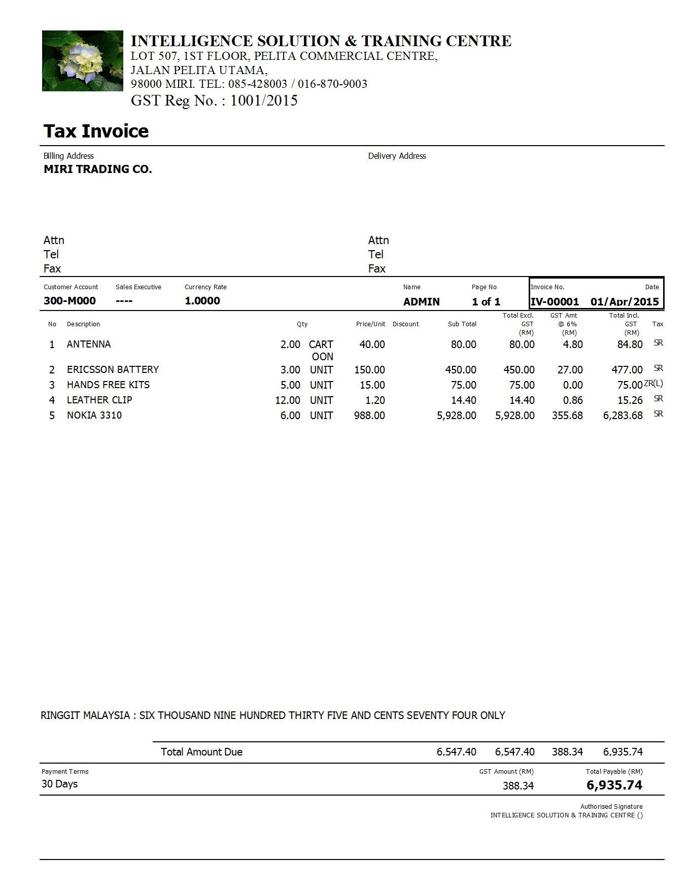 example of tax invoice – Example of a Invoice